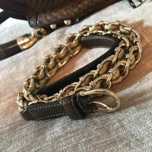 GUCCI chain belt with Khaki Green & Gold fabric